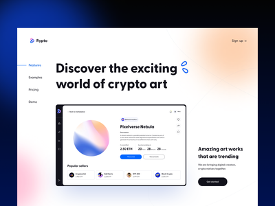 Rypto - Landing Page web ui ux blockchain crypto intrface gallery cryptocyrrency figma ethereum bitcoin gradient color concept app art marketplace nft landing page arounda