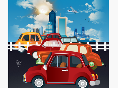 Busy roads cityscape city traffic cars illustration
