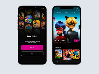 treebl app Sign up/ home screen videos home screen sign up streaming app design ui