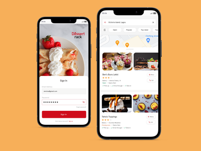 Dessert Rack Sign In/ Search screen food app uidesign design sign in sign in form sign in ui