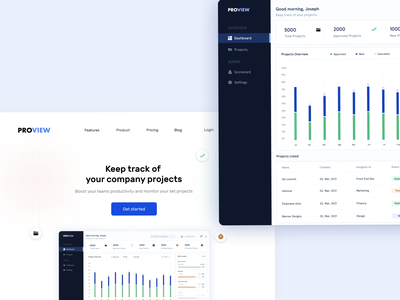 Project tracking app dashboard ui design ux ui tracking company project