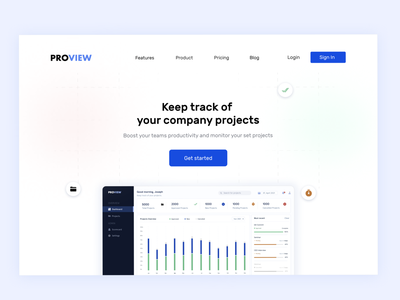 Project tracking app landing page dashboard ui herosection landingpage tracking app project project management company design uidesign
