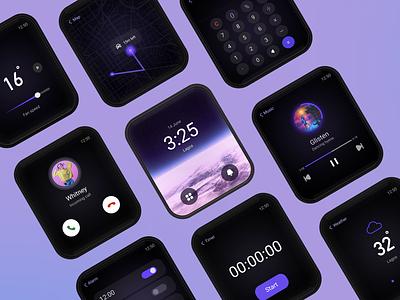 Smart watch UI uiux airconditioning alarmclock weather calculator timer watch clock music player apple smartwatch uidesign