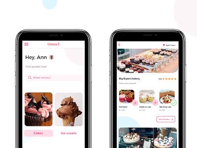Nibbles mobile app design mobile app design bakery shops vendors sweet icecream cake