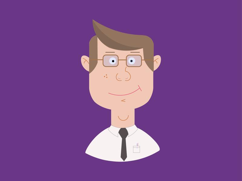 Employee illustrator persona purple character illustration