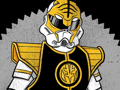 Imperial Ranger star wars power rangers tee t-shirt film tv stormtrooper fanart grunge artwork crossover