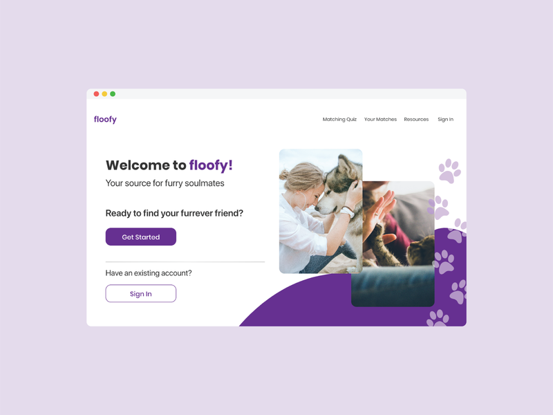 Pet Adoption Landing Page design web ux ui