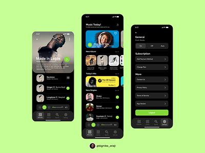 Music Player App UI - 009 music app design 009 design ux product design ui