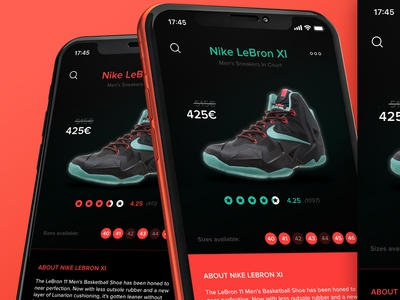 Shoe shop - Nike Lebron XI application design concept ux ui app