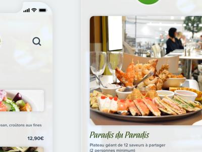 Mobile app restaurant 'Paradis du Fruit' concept application ui app design