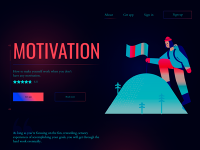 Landing page for the motivation app
