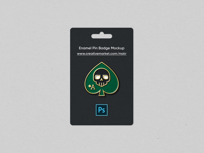 Enamel Pin Badge Mockup skull realistic vector logo design branding minimal ace of spades illustration logodesign mockup psd photoshop mockup download graphicdesign icon enamel pin badge