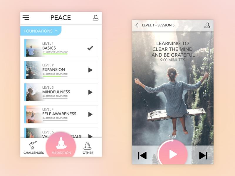 Meditation App Concept meditation app user inteface uiuxdesigner app ux ui ui desgin ui  ux design ui  ux design mobile app mobile uiux