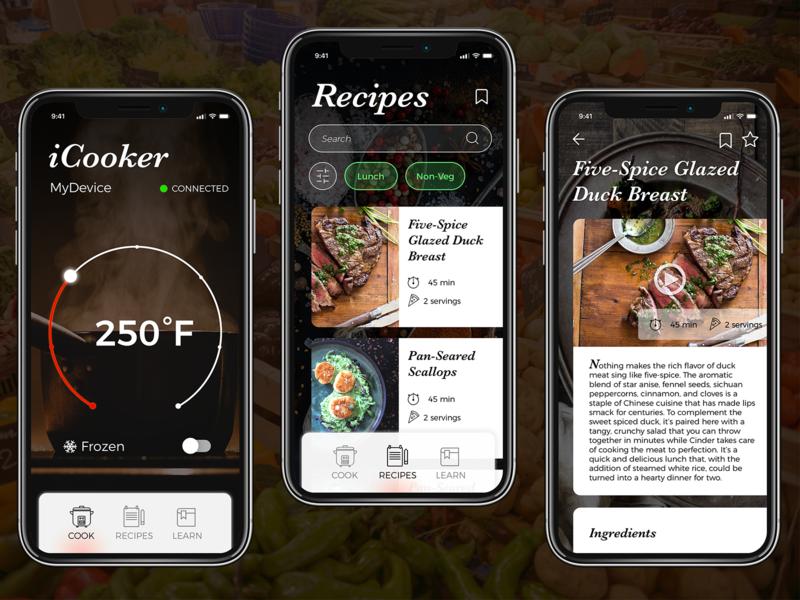 Smart Cooker App Concept cooking app cooking iphone app design iphone app user inteface ux uiuxdesigner ui  ux design ui  ux ui design app ui desgin mobile uiux mobile app