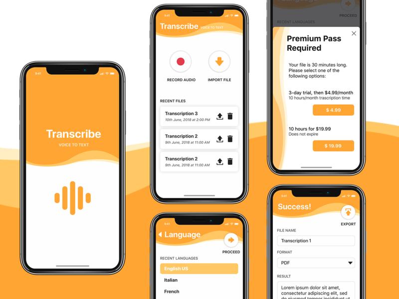 Voice to Text App Concept iphone app design iphone app user inteface ui desgin design app ux ui uiuxdesigner ui  ux design ui  ux mobile uiux mobile app