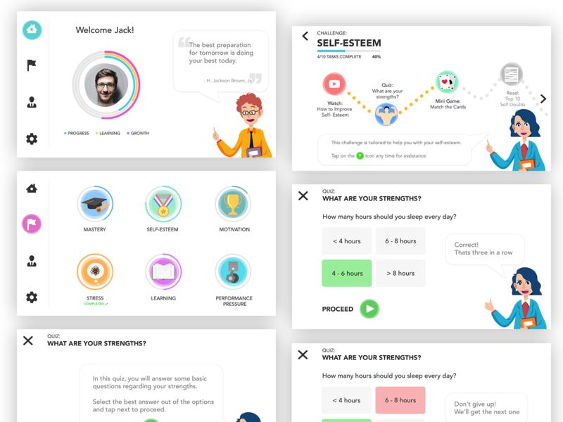 Motivational Learning App Concept learning app motivational iphone app design android app design android app iphone app user inteface ux ui uiuxdesigner app design ui  ux design ui  ux ui desgin mobile uiux mobile app