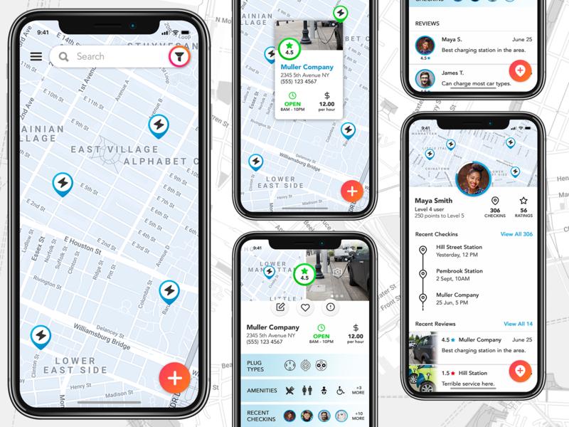 Electric Car Charging Station App Concept iphone app design iphone app user inteface uiuxdesigner design app ui  ux design ux ui ui  ux ui desgin mobile uiux mobile app