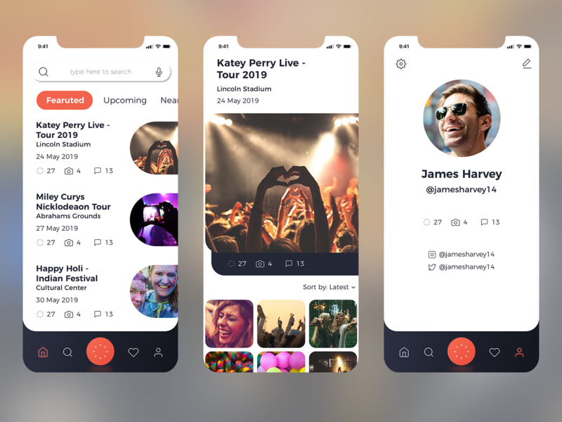 Events Sharepting App Conc design ui desgin uiuxdesigner iphone app design iphone app user inteface ui  ux design ui  ux ux ui mobile uiux mobile app app