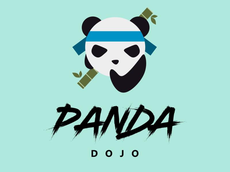 Panda Dojo bamboo dojo icon branding vector illustration logo panda