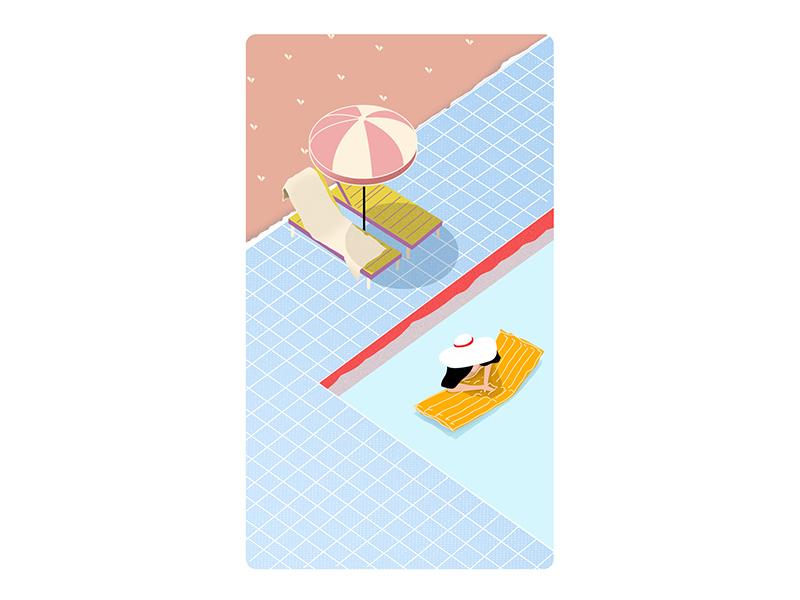 5th Pool water umbrella sun poll illustraor