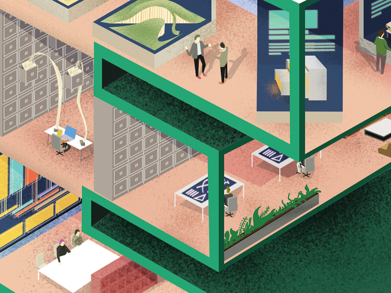 WIP - CBRE building illustration E work wip architecture perspective office building illustration
