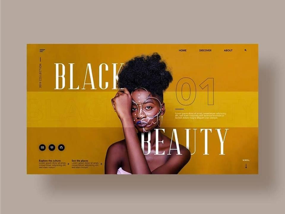 Black Beauty Website, Layout Exploration minimal elegant ux photography web ui desktop design fashion
