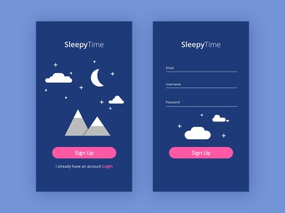 001 SignUp ui adobe xd sleep uiux design illustration dailyui 001 practice signup dailyui