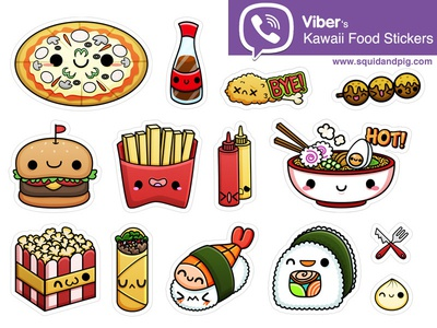kawaii food stickers for viber 01 by squid pig dribbble. Black Bedroom Furniture Sets. Home Design Ideas