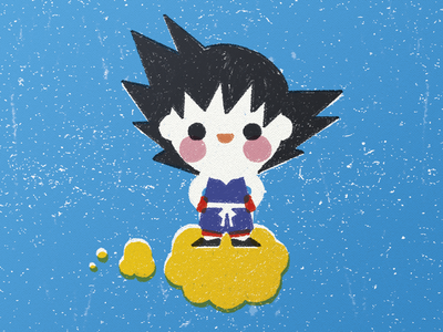 Son Goku - Kawaii Style goku stamp kawaii cute dragonball fanart app editorial print pencil vector