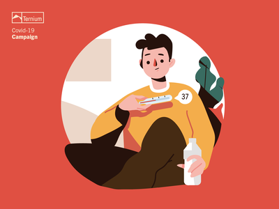 Phew! That was close health home character fever quarantine sick coronavirus covid19 covid social ternium campaign simple ui character design flat graphic design vector illustration