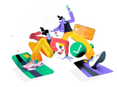 Yellow Pants app graphic ux branding ui character design flat design vector illustration