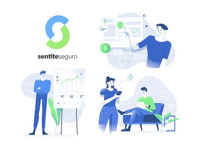 SentiteSeguro website illustration website insurance app insurtech vector branding ui ux logo character design design illustration