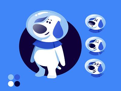 Brand Mascot astronaut insurance company dog brand mascot pet mascot branding character design flat design vector illustration