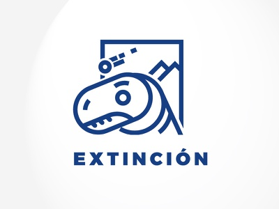 Extinction illustration mark symbol logos dinosaur lineal vector icon extinction