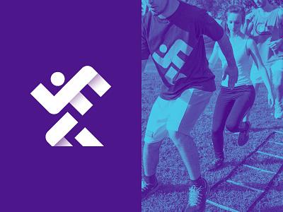Logo fitness running vector branding sport gym line mark design logo