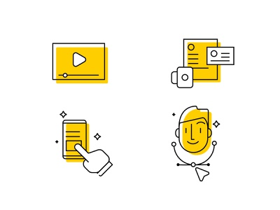 Icons Set yellow logo yellow character design app funny website simple animation icon ux stroke design ui logo branding icons graphic vector illustration