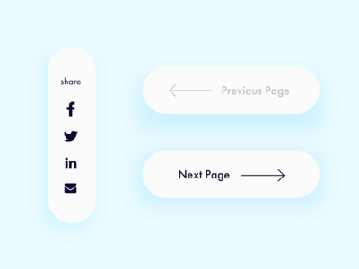 Social media Share, Pagination, Previous and Next page