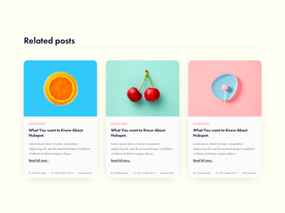 Post Listing/Related pots wordpress hubspot blog design blog post homepage poster calender date category readtime author minimal home blog article post related
