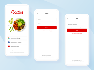 Food App - Sign Up and Login branding trending hotel branding mail google facebook ux mobile ui login page sign up login signup mobile restaurant hotel food iphone android ios app