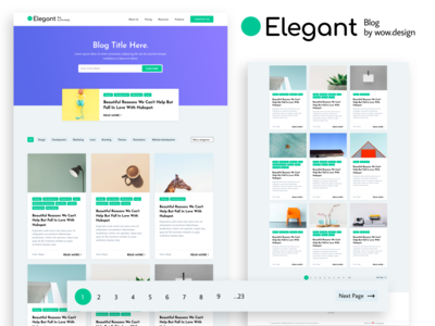 Blog Elegant - Listing blogger readtime posts topics button previous next pagination featured categories cards listing subscribe form blog subscribe