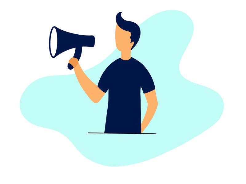 Announcement  illustration minimal blue loudspeaker speaker annoying photoshop men standing adobe illustrator
