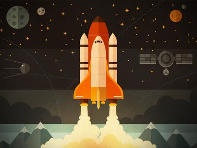 Illustration for the Fireart web studio blog illustration graphic space shuttle rocket satellite planet start flat