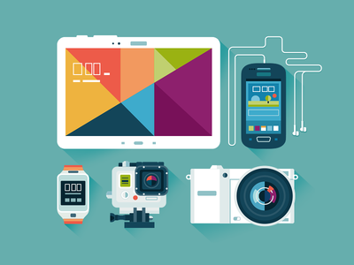 Illustrations of electronic technics.