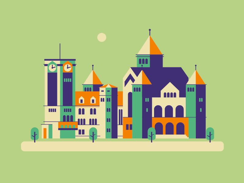 Poznan Design Days illustration bright colors building flat design vector design festival Сastle illustration poland poznan castle graphics illustration