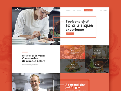 Mycheffy website clean ux ui web interface red fireart cooking webdesign site