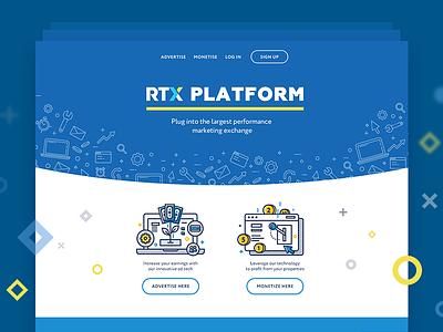 RTX Home Page pop art web service blue illustrations graphics it-marketing site design ux ui web fireart