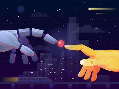 Artificial intelligence touch robot futuristic fireart studio hands graphics art artificial intelligence future illustration