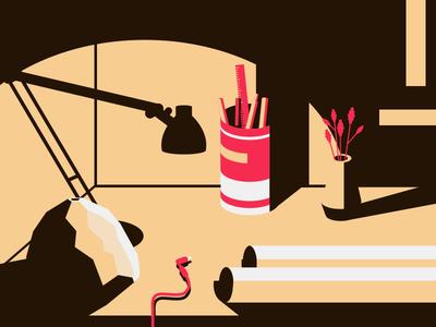 Workplace desk workplace evening zen fire art graphics interior illustrations