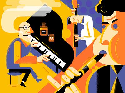 Jazz people flat vector musicians music jazz fire art graphics illustration