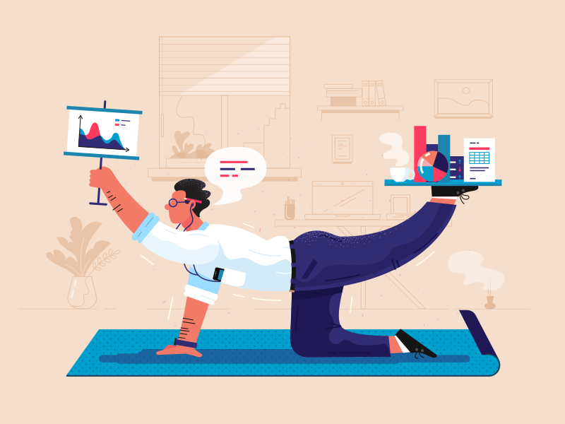 Keep The Balance fireart studio business character yoga graphics illustration